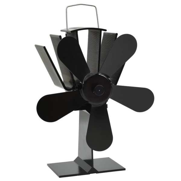 vidaXL Ventilator de sobă cu alimentare termică, 5 palete, negru