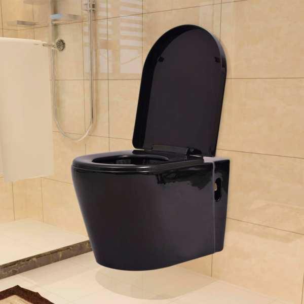 vidaXL Vas toaletă suspendat cu rezervor încastrat, negru, ceramică