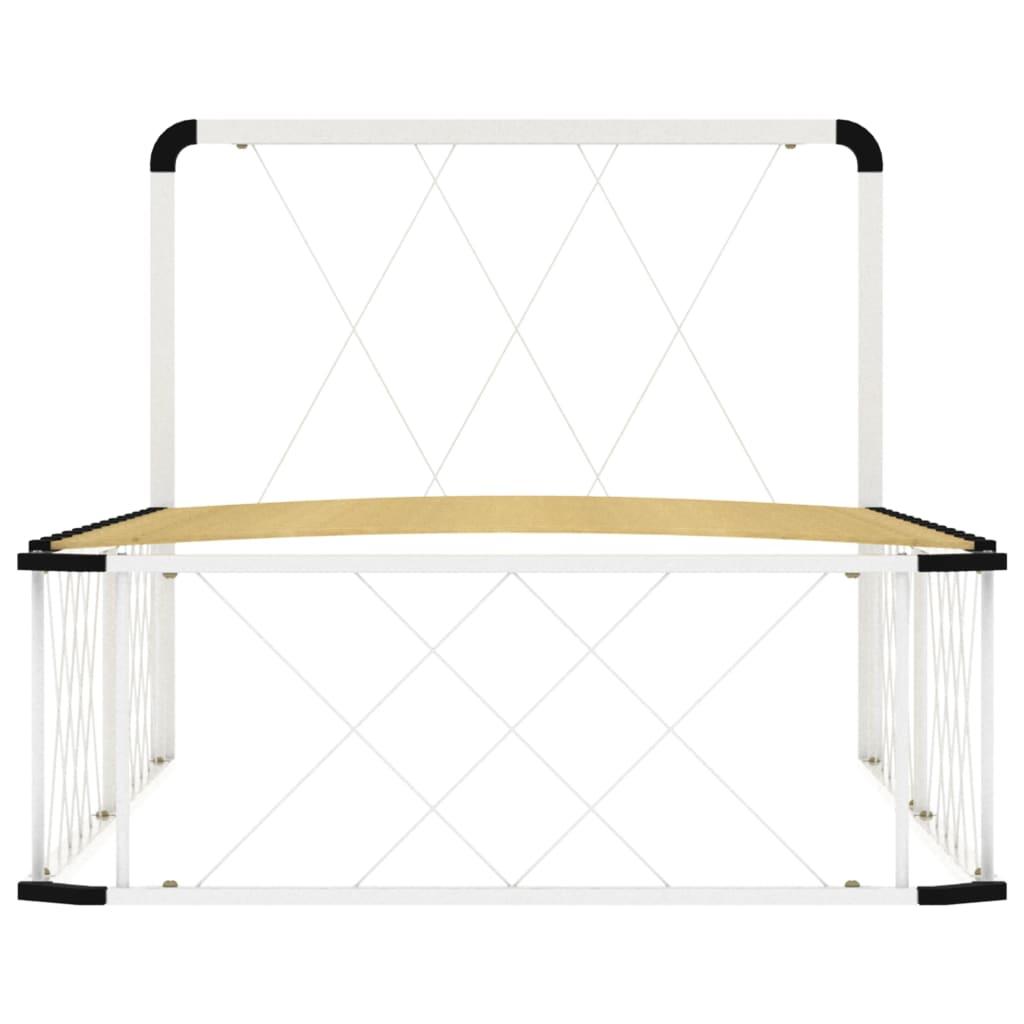 vidaXL Cadru de pat, alb, 100 x 200 cm, metal