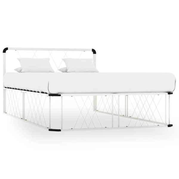 vidaXL Cadru de pat, alb, 120 x 200 cm, metal