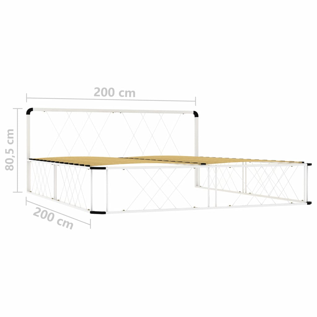 vidaXL Cadru de pat, alb, 200 x 200 cm, metal