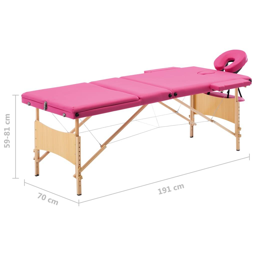 Masă de masaj pliabilă, 3 zone, roz, lemn