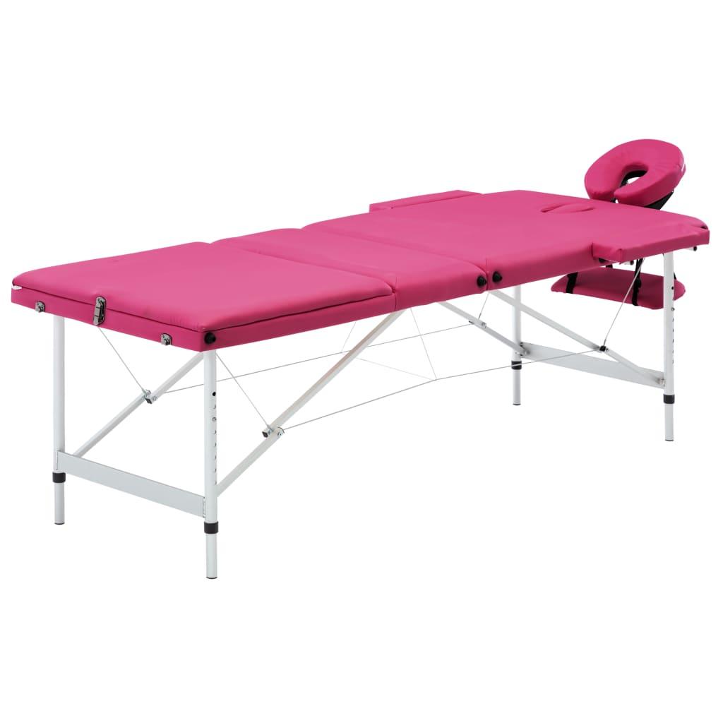 vidaXL Masă de masaj pliabilă, 3 zone, roz, aluminiu