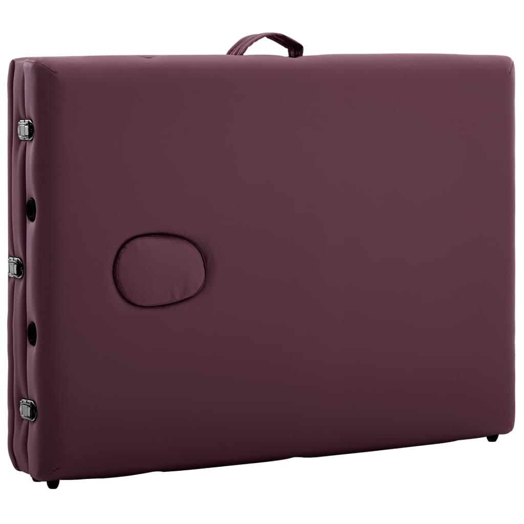 Masă de masaj pliabilă cu 3 zone, violet vin, aluminiu