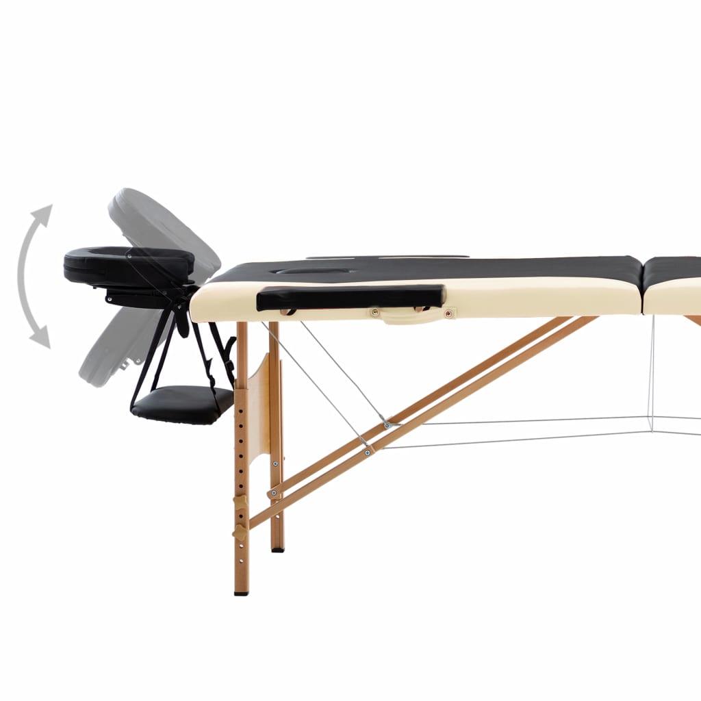 Masă de masaj pliabilă, 2 zone, negru și bej, lemn