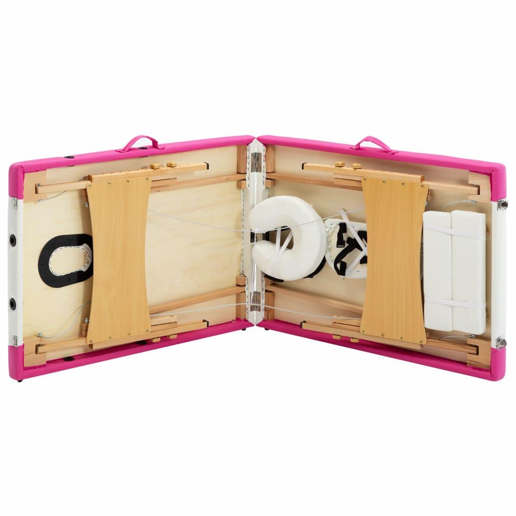 Masă pliabilă de masaj, 2 zone, alb și roz, lemn