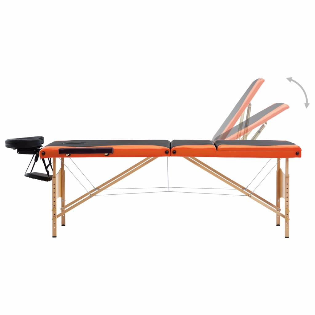 vidaXL Masă de masaj pliabilă, 3 zone, negru și portocaliu, lemn