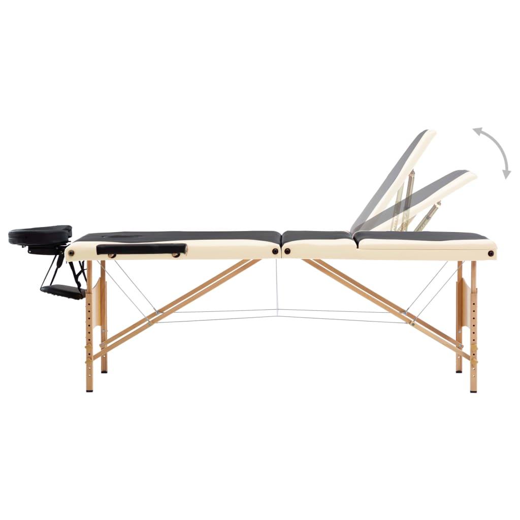Masă de masaj pliabilă, 3 zone, negru și bej, lemn
