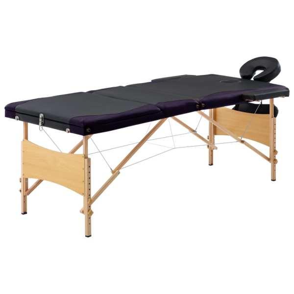 vidaXL Masă de masaj pliabilă, 3 zone, negru și violet, lemn