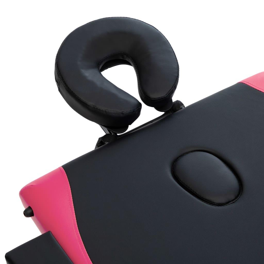 Masă de masaj pliabilă, 3 zone, negru și roz, lemn