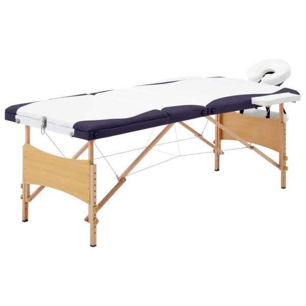 vidaXL Masă de masaj pliabilă, 3 zone, alb și violet, lemn