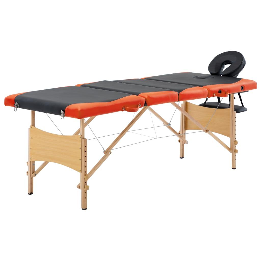vidaXL Masă pliabilă de masaj, 4 zone, negru și portocaliu, lemn