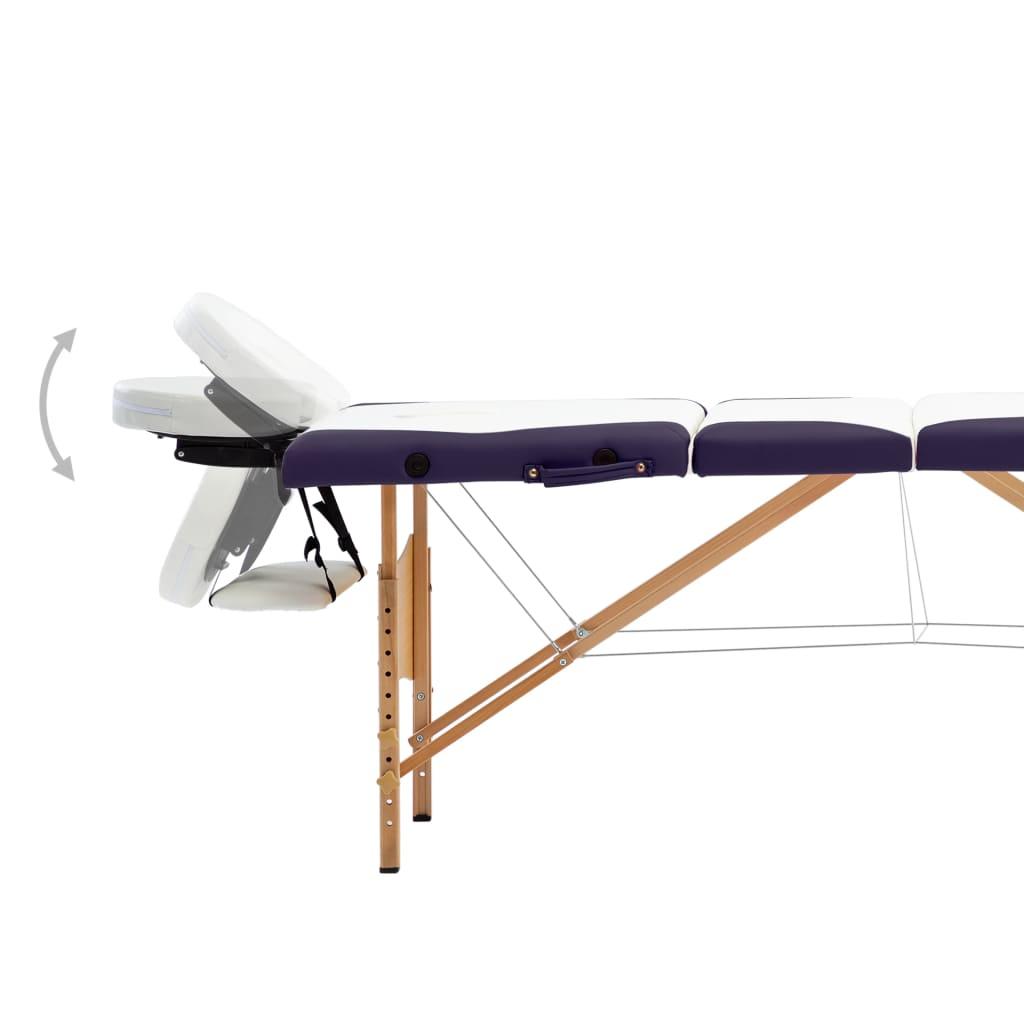 Masă pliabilă de masaj, 4 zone, alb și violet,  lemn