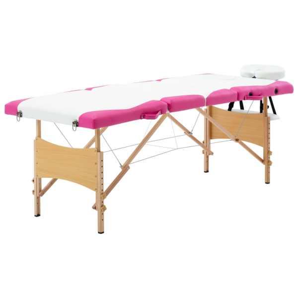 vidaXL Masă pliabilă de masaj, 4 zone, alb și roz, lemn