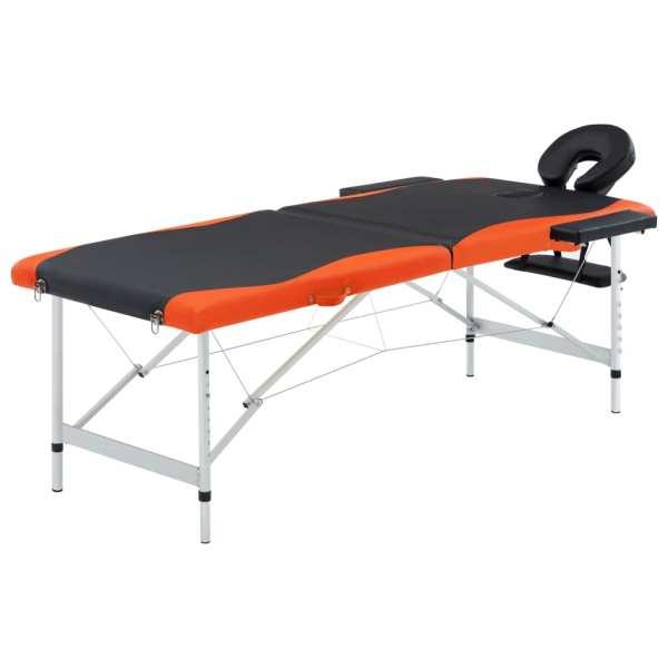 vidaXL Masă pliabilă de masaj, 2 zone, negru și portocaliu, aluminiu