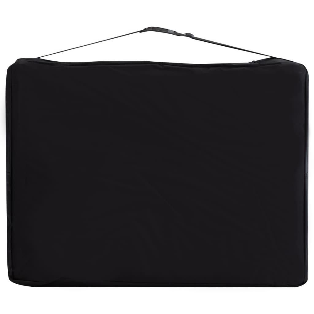 Masă pliabilă de masaj, 2 zone, negru și portocaliu, aluminiu