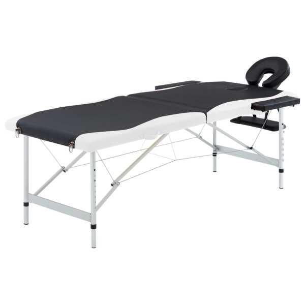 vidaXL Masă pliabilă de masaj, 2 zone, negru și alb, aluminiu