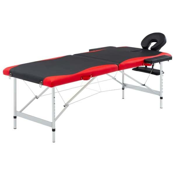 vidaXL Masă pliabilă de masaj, 2 zone, aluminiu, negru și roșu