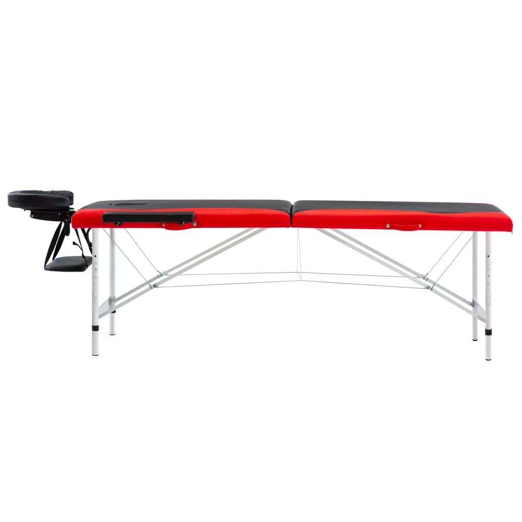 Masă pliabilă de masaj, 2 zone, aluminiu, negru și roșu