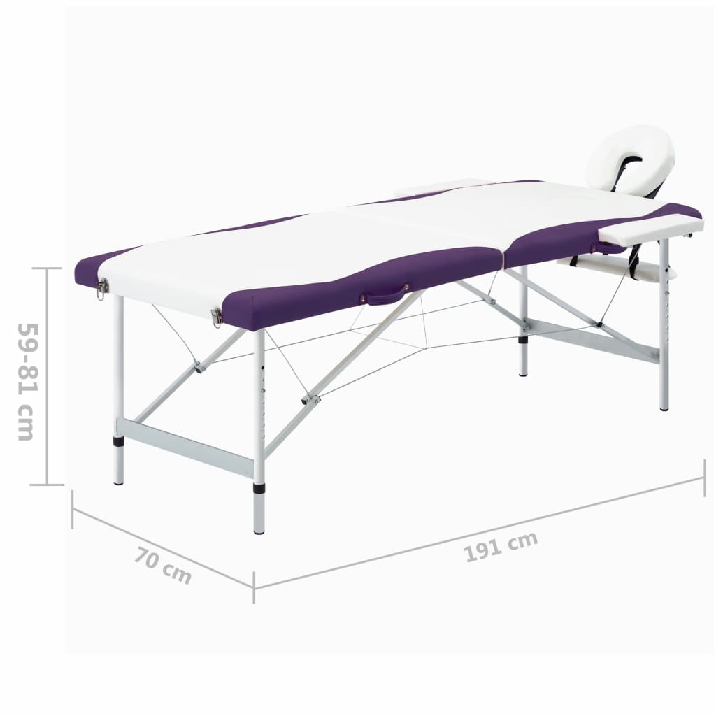 Masă pliabilă de masaj, 2 zone, alb și violet, aluminiu