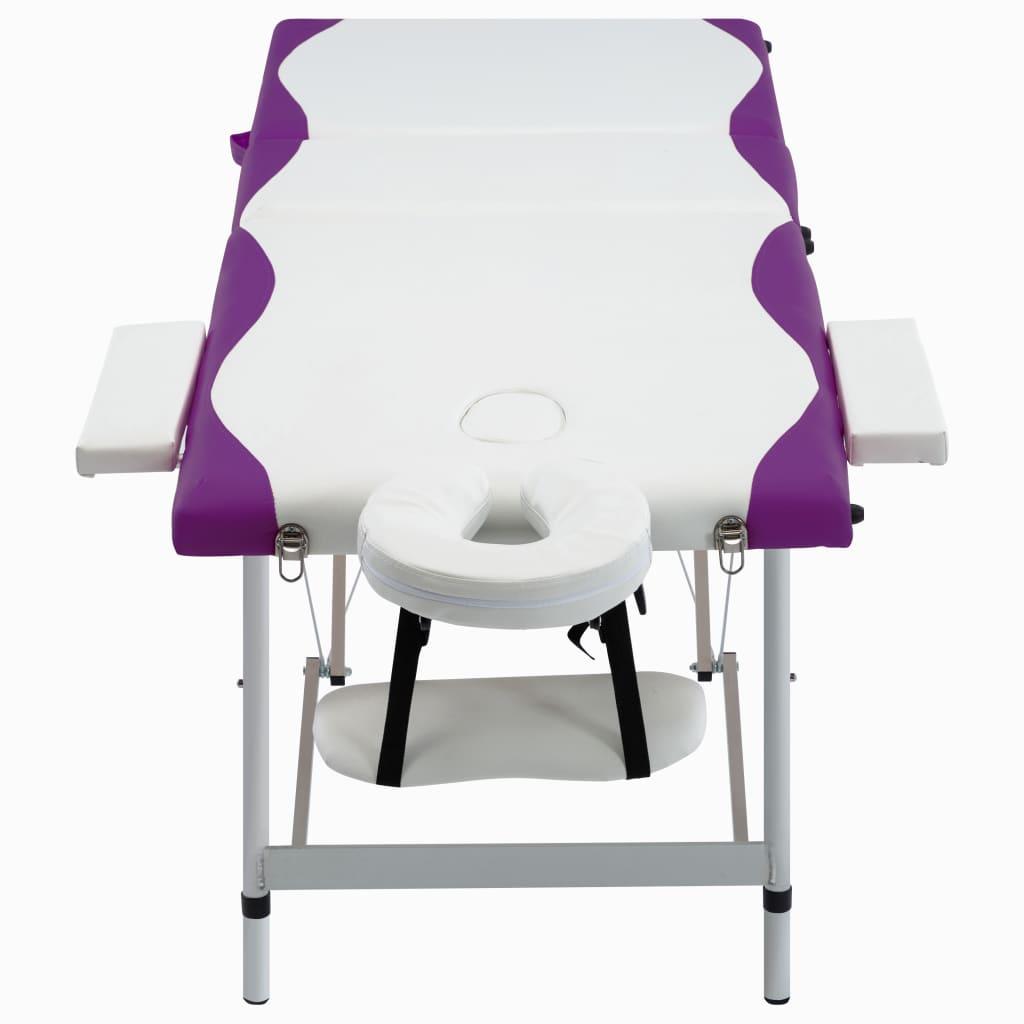 Masă de masaj pliabilă, 3 zone, alb și violet, aluminiu