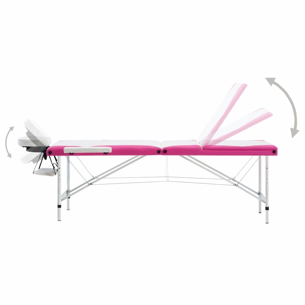 Masă pliabilă de masaj, 3 zone, alb și roz, aluminiu