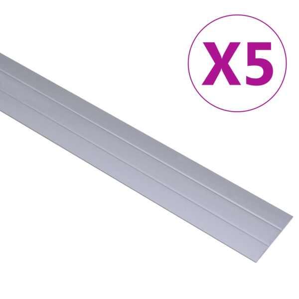 vidaXL Profile de pardoseală, 5 buc., argintiu, 100 cm, aluminiu
