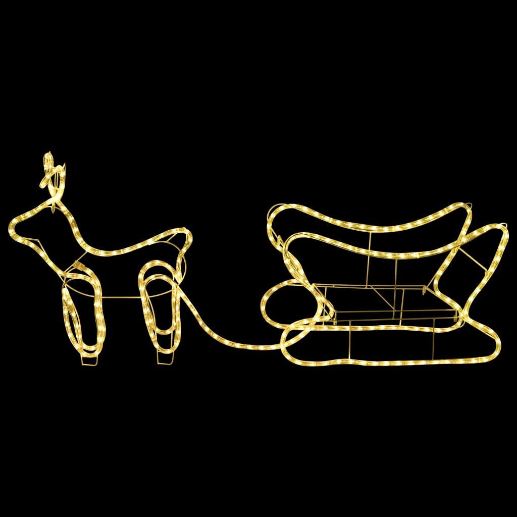 vidaXL Decorațiune de Crăciun cu ren și sanie, 252 leduri, exterior