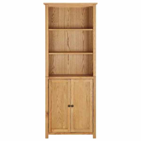 Bibliotecă cu 2 uși, 90 x 30 x 200 cm, lemn masiv stejar