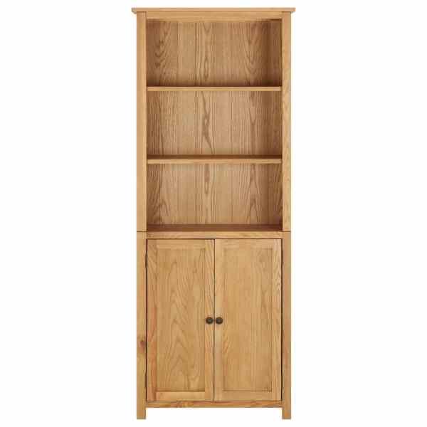 Bibliotecă cu 2 uși, 70 x 30 x 180 cm, lemn masiv stejar