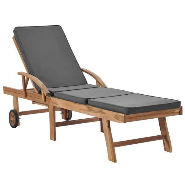 Șezlonguri cu perne, 2 buc., gri închis, lemn masiv de tec