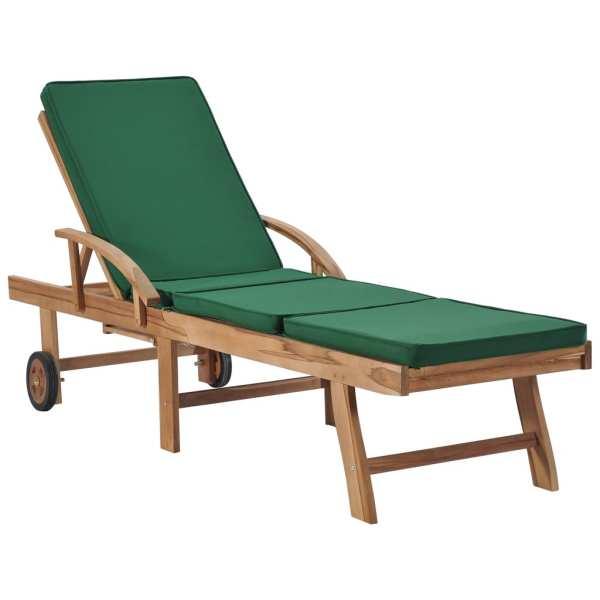 vidaXL Șezlonguri cu perne, 2 buc., verde, lemn masiv de tec