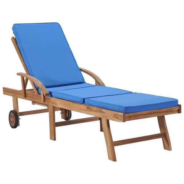Șezlonguri cu perne, 2 buc., albastru, lemn masiv de tec