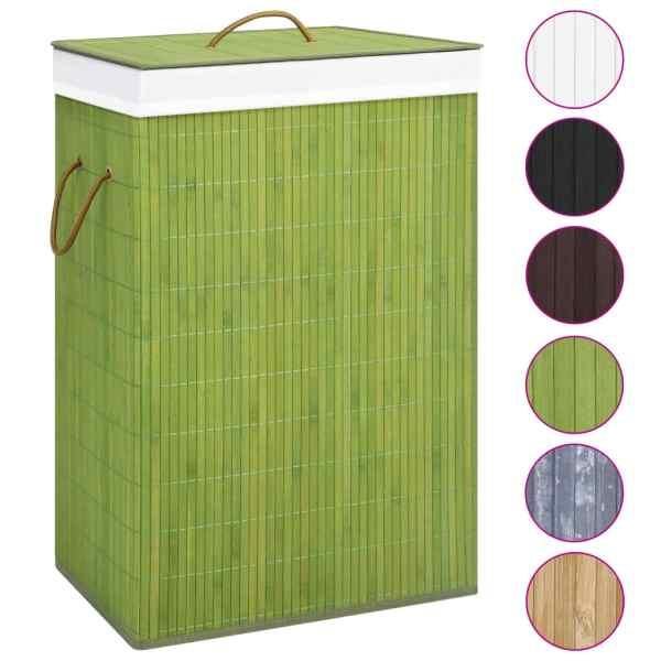Coș de rufe din bambus, verde