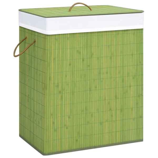 vidaXL Coș de rufe din bambus, verde, 83 L
