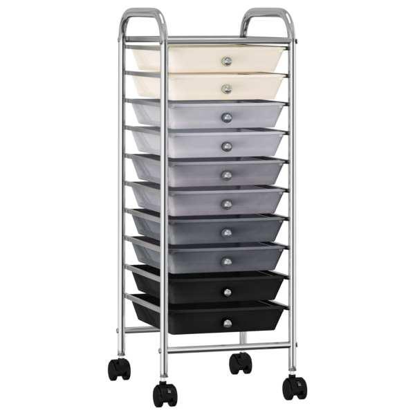 vidaXL Cărucior de depozitare mobil cu 10 sertare, ombre, plastic
