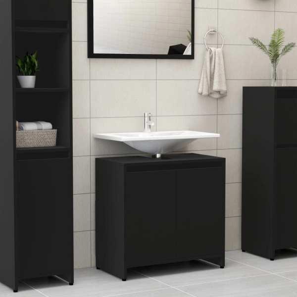vidaXL Dulap de baie, negru, 60 x 33 x 58 cm, PAL