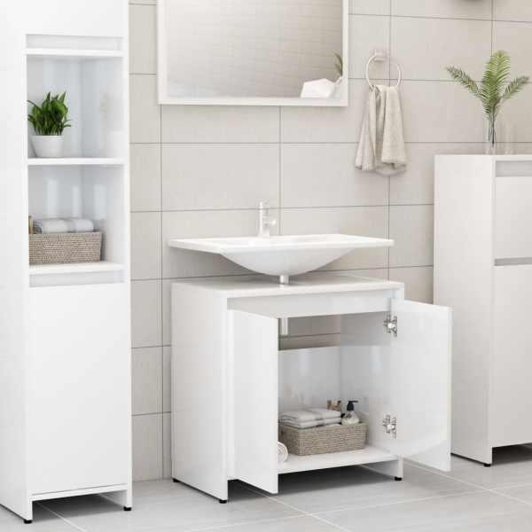 Dulap de baie, alb extralucios, 60 x 33 x 58 cm, PAL