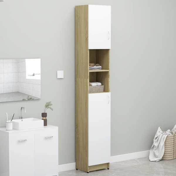 vidaXL Dulap de baie, alb și stejar Sonoma, 32×25,5×190 cm, PAL
