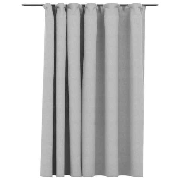 vidaXL Draperie opacă, aspect de in, gri, 290 x 245 cm, cu cârlige