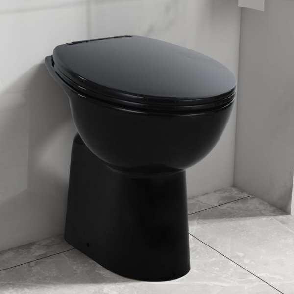 vidaXL Vas WC fără ramă închidere silențioasă, + 7 cm, negru, ceramică