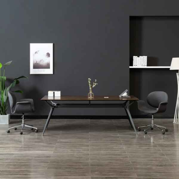 vidaXL Scaun de birou pivotant, gri, material textil