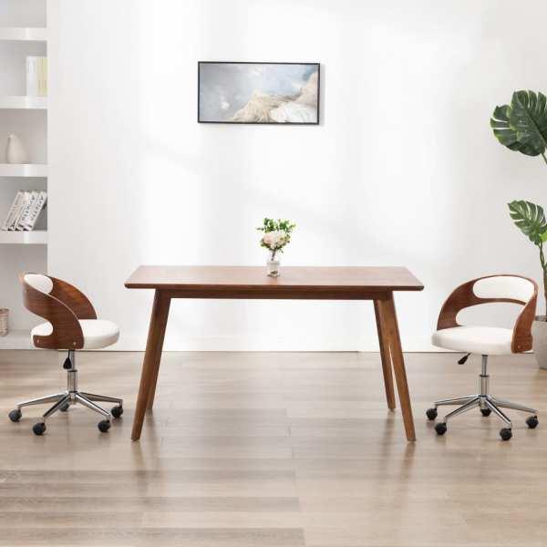 vidaXL Scaun de birou pivotant, alb, lemn curbat și piele ecologică