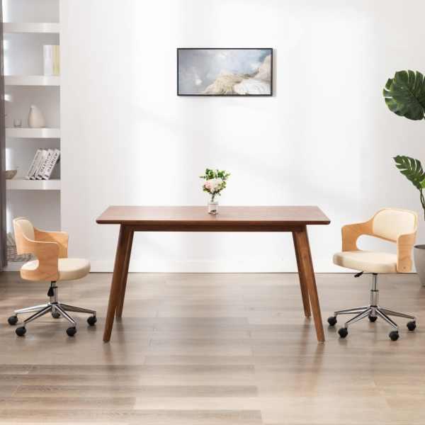 vidaXL Scaun de birou pivotant, crem, lemn curbat și piele ecologică
