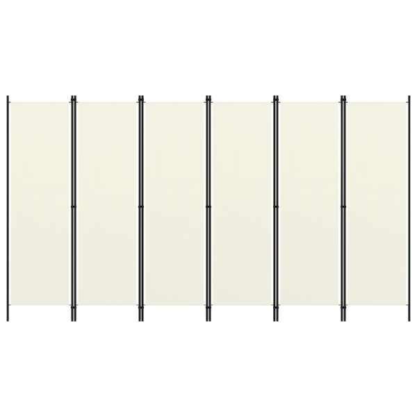 vidaXL Paravan cameră cu 6 panouri, alb crem, 300 x 180 cm