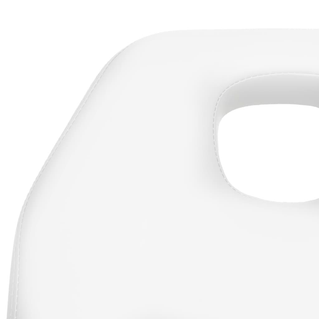 Masă de masaj, alb, 180 x 62 x (86,5-118) cm