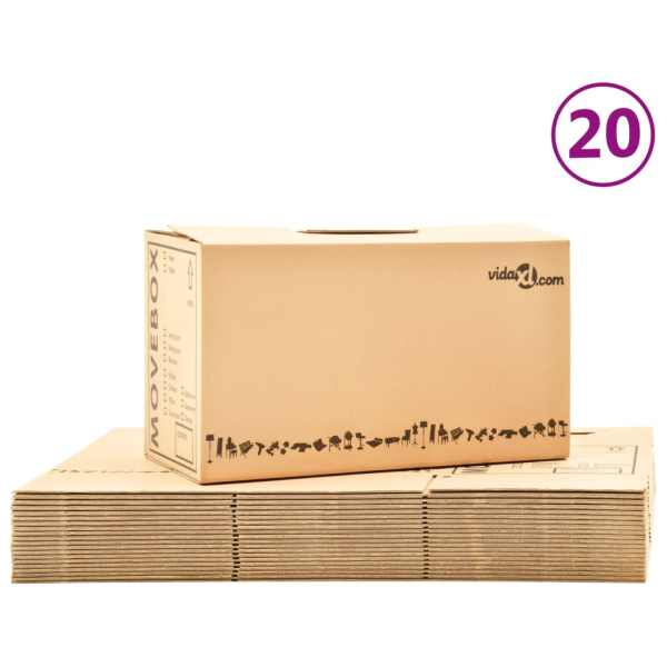 vidaXL Cutii pentru mutare din carton XXL 20 buc. 60 x 33 x 34 cm