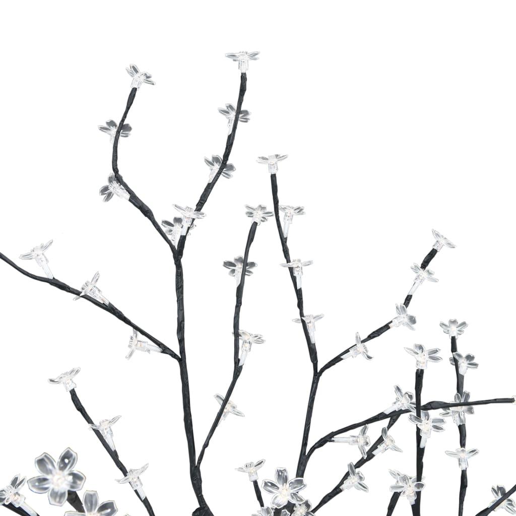 Pom de Crăciun, 128 leduri alb cald, flori de cireș, 120 cm