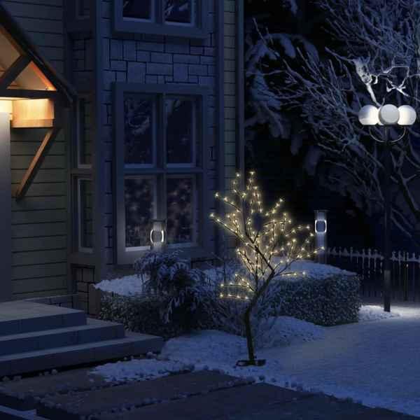 vidaXL Pom de Crăciun, 128 leduri alb cald, flori de cireș, 120 cm
