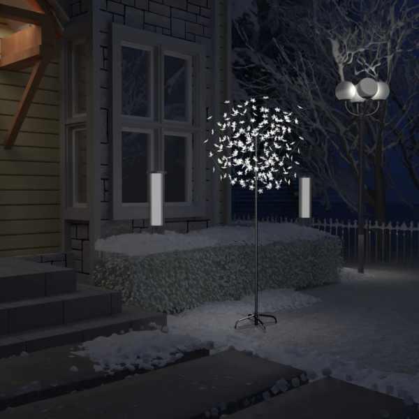 vidaXL Pom Crăciun, 200 LED-uri alb rece, flori de cireș, 180 cm